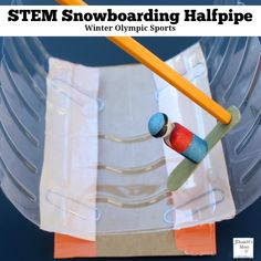 Winter Olympic Sports - STEM Snowboarding Halfpipe : This is a fun STEM activity that can be used for creative play. Children will create a half pipe with paper clip springs and a wooden peg snowboarder. Science Activities For Kids, Cool Science Experiments, Stem Activities, Sports Activities, Winter Activities, Olympic Sports, Olympic Games, Olympic Crafts, Snowboarding Olympics