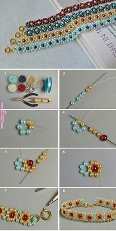 Beaded Bracelet Patterns, Beading Patterns, Embroidery Bracelets, Mosaic Patterns, Bracelet Designs, Beaded Necklace, Jewelry Crafts, Handmade Jewelry, Handmade Beads