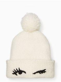 Kate Spade Winking Beanie In Cream Knit Beanie, Beanie Hats, Beanies, Winter Wear, Autumn Winter Fashion, Winter Hats, Fall Winter, Fashion Moda, Fashion Hats