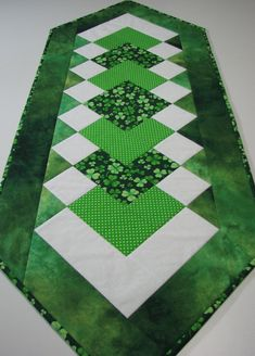 Quilted Table Runner , St. Patrick's Day Table Runner , Shamrocks and Polka Dots , Springtime Table Decor by VillageQuilts on Etsy