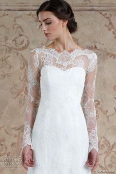 sareh nouri fall 2016 bridal elegant fit to flare trumpet wedding dress long sheer lace sleeves boat neckline style miriam