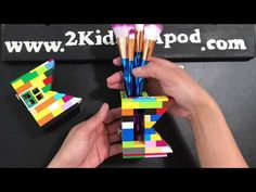"""Let's build letter """"K"""" . A fun and easy LEGO project for kids. Build this LEGO make-up brush or painting brush ho. Lego Projects, Projects For Kids, Paint Brushes, Makeup Brushes, Lego Craft, Letter K, Lego Ideas, Fun Games, Make Up"""