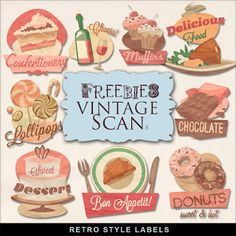 Far Far Hill - Free database of digital illustrations and papers: New Freebies Retro Style Labels