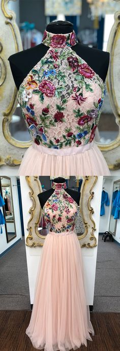 elegant high neck pink long prom dress with floral embrodiery, 2k18 prom dress homecoming dress