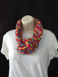 handmade loomknitted bright colored wool adjustable infinity scarf by knittedbydesign on Etsy
