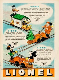 Lionel Trains - Vintage Disney Collectibles: 1936 Christmas ads Merry Christmas from Johnny a. Vintage Advertisements, Vintage Ads, Vintage Posters, Vintage Images, Retro Disney, Disney Fun, Punk Disney, Disney Facts, Disney Movies