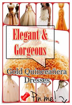 Quinceanera Guide - Gold Quinceanera Dresses In Autumn Shades. Pick one of these Gold quinceanera dresses for your big day! Different Dresses, Unique Dresses, Fantasy Party, Queen, Quinceanera Dresses, All About Eyes, Gold Dress, Sweet Sixteen, Timeless Beauty