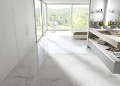 Carrara marble-look ceramic floor tile Ceramic Floor Tiles, Bathroom Floor Tiles, Marble Floor, Carrara Marble, Bathroom Marble, Marble Wall, Gold Marble, Wall Tiles, Polished Porcelain Tiles