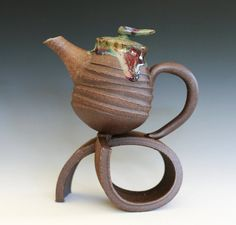 """""""On a Roll"""" Stoneware Teapot"""