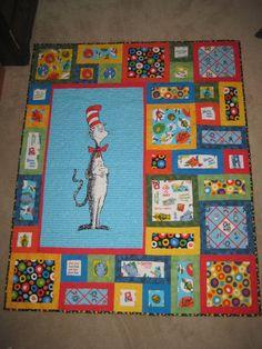 Dr. Seuss I Spy Quilt, Cat Quilt, Quilting Projects, Quilting Designs, Sewing Projects, Panel Quilts, Quilt Blocks, Baby Quilt Patterns, Toddler Quilt