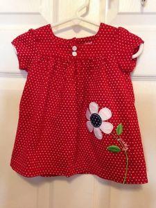 Carters Girls Dress Size 9mo Red White w Flower | eBay
