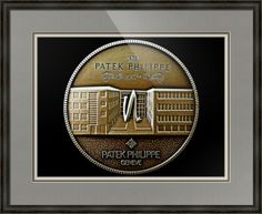 "Patek Philippe Geneve Commemorative Medal Coin (Front) // Paper: enhanced matte; Glazing: acrylic; Moulding: black, providence black; Top Mat: black/gray, gull; Middle Mat: brown, chestnut brown; Bottom Mat: tan, seaside // Price starts at $167 (Petite: 20.25"" x 22.25""). // Customize at http://www.imagekind.com/Patek-Philippe-Geneve-PPG_art?IMID=5cad76ca-2632-4430-9e1b-71f73e27c714"