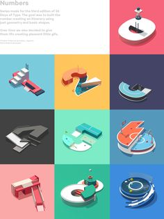 Numbers made for the third edition of 36 days of type. 3d Design, Game Design, Book Design, Isometric Art, Isometric Design, 3d Typography, Graphic Design Typography, Typography Inspiration, Graphic Design Inspiration