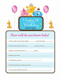 Great first birthday party activity Who knows baby best quiz I