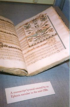 An illustrated handwritten manuscript hymnal created by an Ephrata member in the mid-1700s.