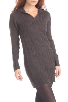 Hooded Cable Knit Sweater Dress