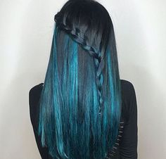 Teal and black hair  Blue and black  Blue balayage  By @missladyhawk