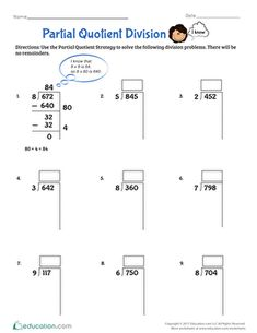 Fourth grade math worksheets: partial quotient division 4th Grade Math Worksheets, Math Workbook, Homeschool Worksheets, Curriculum, Partial Quotient Division, Long Division, Math Fractions, Dividing Fractions, Fractions Worksheets
