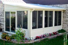 lean to four season sunrooms Four Season Sunroom, 3 Season Porch, Porch Knee Wall, Sunroom Decorating, Sunroom Ideas, Decorating Ideas, Decor Ideas, Aluminum Awnings, Enclosed Patio