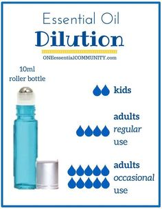 SAVED - handy chart showing HOW MANY DROPS of essential oil to use in a roller bottle-- 2 drops dilution) for kids; 4 drops dilution) for adults for a blend used most days; 10 drops dilution) for adults for a blend used occasionally Essential Oil Dilution Chart, Diluting Essential Oils, Essential Oils For Kids, Essential Oil Uses, Young Living Essential Oils, Aromatherapy Oils, Melaleuca, Doterra Essential Oils, Yl Oils