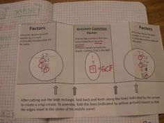 great math foldable for factors ....
