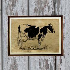 Dairy cow print Farm Animal decor Vintage paper by artkurka, $18.00