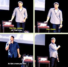 [GIFSET] Misha, Jensen, Jibcon2014 - Jensen is shamelessly flirting with a fan - I would have been dead on the floor.... This man knows exactly what he does to us!! <3