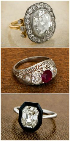 Antique engagement rings from Estate Diamond Jewelry! Each so beautiful and so unique.