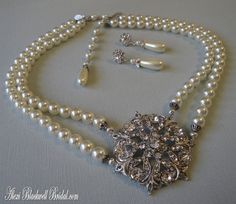Pearl Statement Necklace in Ivory Rhinestone focal and Earrings wedding Mother of the Bride wedding jewelry multi strands choice of colors on Etsy, $89.00