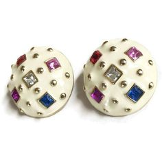 Vintage Cream Enamel Multi Color Rhinestones Button Earrings Haute... ($24) ❤ liked on Polyvore featuring jewelry, earrings, cream jewelry, vintage jewellery, vintage jewelry, sparkly earrings and couture earrings
