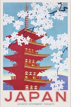 Japan Railways (Blossom) ~ Wall Poster - Vintage Asian Travel Art Prints and Posters - Vintage Travel Pictures