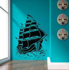 Pirate Ship nautique digue Decal voile bateau par VinylWallArtworks