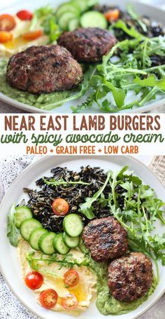 Grilled Near East Lamb Burgers for a Mezze Salad Platter (AIP Paleo) low allergen and anti-inflammatory recipes from rally pure [autoimmune protocol] gluten free grain free dairy free nut free top 8 free Lamb Burger Recipes, Lamb Recipes, Entree Recipes, Grilling Recipes, Paleo Recipes, Dinner Recipes, Cooking Recipes, Paleo Meals, Grill Meals