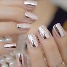 Black Gold Nails Mirror Silver False Nails - Brand Name: EchiQ Material: Acrylic Application: Finger Type: Full Nail Tips Model Number: metallic nails Size: mirror nails Quantity: 24 Nail Length: medium Nail Width: medium Item Type: False Nail Hair And Nails, My Nails, Crome Nails, Nail Store, Acrylic Nail Tips, Mirror Nails, Pink Mirror, Metallic Nails, Glitter Nails