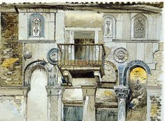 John Ruskin's watercolour study of The Fondaco di Turchi [The Turkish Merchants' House] in Venice Venice Painting, John Everett Millais, John Ruskin, Building Illustration, Pre Raphaelite, Amazing Drawings, Arts And Crafts Movement, Poster Prints, Art Prints