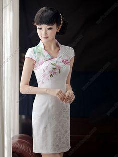 Women's Cotton White Knee-length V-neck Embroidery peony Cheongsam Dress - USD $ 110.00
