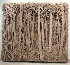 "Paper Sculpture - ""Cardboard Forests"" by Eva Jospin Cardboard Sculpture, Cardboard Art, Sculpture Lessons, Sculpture Art, Sculpture Projects, Sculpture Ideas, Cardboard Relief, Classe D'art, Paper Art"