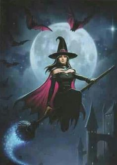 Witch Flight : Fantasy, Myth & Legend : Cards by Theme : Home : Pagan/spiritual and fairy/fantasy greeting cards, prints and gifts at Moondragon Fantasy Witch, Witch Art, Fantasy Art, Witch Painting, Painting Art, Witch Pictures, 3d Pictures, Witch Pics, Halloween Art