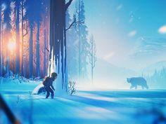 The Girl and the Bear girl bear forest snow illustration concept art environment Forest Illustration, Fantasy Illustration, Landscape Illustration, Digital Illustration, Landscape Concept, Landscape Art, Fantasy Concept Art, Fantasy Art, Snow Forest