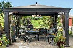 Looking for you patio gazebos ideas ? and wondering about the gazebos construction material selection ? and want to know the best design for your patio pergola… Gazebo Canopy, Outdoor Gazebos, Backyard Gazebo, Garden Canopy, Canopy Outdoor, Outdoor Rooms, Backyard Landscaping, Outdoor Living, Canopy Curtains
