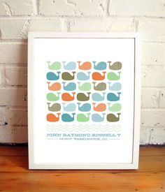 custom whale print by treetopstudio on Etsy (lots of color options too)