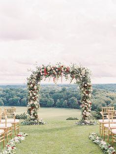 Photographer: http://sallypinera.com   Florals: http://brideandblossom.com   Groom's attire: http://alandavid.com   Venue: http://www.natirar.com/   Read More: https://www.stylemepretty.com/2018/01/18/colorful-south-new-jersey-wedding/