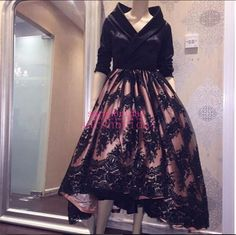 Vintage Tea Length Black And Mauve Wedding Evening Dresses with V-Neck 1950s Stylish 2015 Long Sleeve Arabic Plus Size Wedding Party Gowns Online with $136.05/Piece on Sarahbridal's Store   DHgate.com