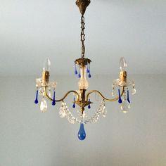 vintage CRYSTAL and Blue OPALINE Murano Prisms CHANDELIER Milk Glass blown glass de la boutique FELIXsoFRENCH sur Etsy