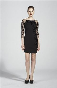 Vine-Like Detail Illusion Sleeves Night Out Dress Style Code: 13381 $119 Order here: http://www.outerinner.com/vine-like-detail-illusion-sleeves-night-out-dress-pd-13381-11.html