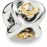 Pandora Perfect Posey Sterling Silver Bead with 14k Gold Flowers with Diamonds