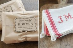 Set of 2 - Monogrammed French Red Stripe Kitchen Towel with Personalized Hand Stitched Initials. $40.00, via Etsy.