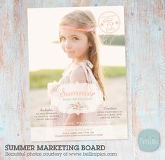 Summer is coming! Offer your new and existing clients Summer Mini Sessions with this multi use marketing board. It is perfect for your Facebook page, blog or newsletter campaign. Or simply print as a poster.  This template is an *INSTANT DOWNLOAD* • A fully layered Adobe Photoshop file measuring 5x7 inches and 250dpi • Easily customisable colors and text • Easy instructions for inserting of your own photos • Links to free fonts provided • You will need Adobe Photoshop or Photoshop Elements…
