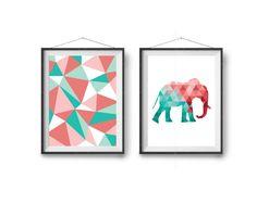 Colorful Art Prints, Nursery Art, Mint & Coral Art, Kids Room Art, DIY Decor, Printable Art, Diptych, Set Of 2 Prints, Abstract Art, Minimal by Print Avenue on Etsy