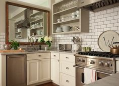 Ivory Kitchen Cabinets With Gray Countertops - Design photos, ideas and inspiration. Amazing gallery of interior design and decorating ideas of Ivory Kitchen Cabinets With Gray Countertops in kitchens by elite interior designers. Shaker Kitchen, New Kitchen, Vintage Kitchen, Kitchen Dining, Kitchen Decor, Kitchen White, Wolf Kitchen, Awesome Kitchen, Crisp Kitchen
